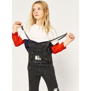 zara girls peanuts snoopy overalls jeans 13/14 yrs
